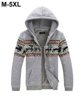 2014 Winter Men Warm Fleece Hooded Zipper Up Deer Print Totem Cardigan Hoody Men Brushed Lining Sportswear Plus Size M-5XL