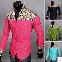 New fashion leopard splicing Gentleman personality Long sleeve shirt