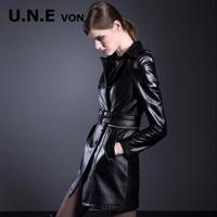2014 women's fashion motorcycle medium-long sheepskin genuine leather two ways female clothing