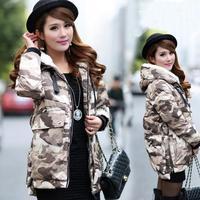 Fashion Women Winter Down Coat Camouflage Pocket Printing Female Parka Pocket Desigual Brand Ladies Long Jacket W058