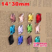 72pcs 14*30 mm S shape Sew-on Stone Mix Color Beauty Fish Sew On Rhinestones for bride dress making