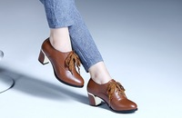 Genuine Leather Lady's Spring  Autumn Round Toe Thick Heel Shoes, British Style Lace Up Lady's Middle Heel Bootie