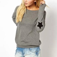 New Fashion Ladies' elegant elbow star patch sports gray pullover outwear Casual slim o neck long Sleeve  Tops--H842