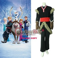 Free Shipping Customized Movie Frozen Kristoff Costume Outfit Kristoff Cosplay Costume