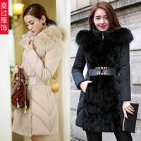 2014 Winter Slim Women Down Raccoon Fur Collar Thread Winter Long Parka with Adjsutable Waist Ladies Brand Warm Jacket W004