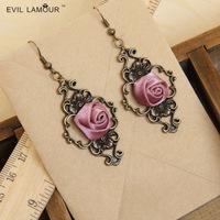 Min.order $15 Vampire Gothic Punk Dangle Earring Vintage Lilac Rose Drop Earring Fashion Handmade Earrings EH-28