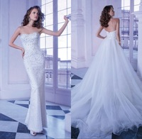 Two pieces organza bridal dresses! New design strapless full exquisite beaded backless gown shiny handmade mermaid wedding dress
