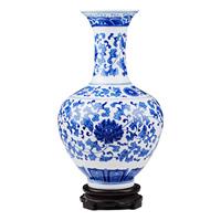 Ceramics antique blue and white porcelain vase modern fashion living room home decoration crafts decoration
