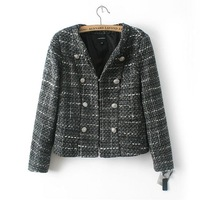 New Fashion Ladies' Elegant plaid jacket Vintage coat long sleeve double breasted outwear casual slim tops--H854