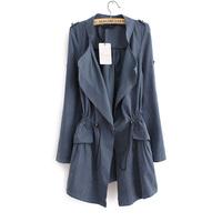 Free shipping 5 colors size M-XL 2014 autumn women's thin trench tight waist mid-long length windbreaker WLJ14006