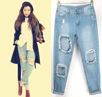 2014 Fashion top new women jeans pants feet loose trousers female tide hole cross Novelty jean zipper pencil Personalized pants