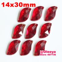 72pcs 14*30 mm S shape Sew-on Stone Siam Beauty Fish Sew On Rhinestones for bride dress making