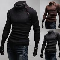 Free Shipping 2014 New Arrival Korean Version Warm Sweater Men Slim Turtleneck Heaps Collar Knit Pullover Black Grey M L XL XXL