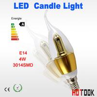 led candle light 4w 3014smd e14 bulb lamp led spot light Warm White Cool White 360 beam angle led 85-265v golden free shipping
