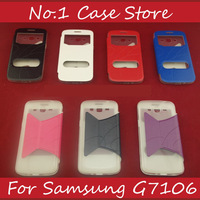 Open Window Wallet Inside Leather Flip Phone Case For Samsung Galaxy Grand 2 Duos G7102 G7106 G7108 Soft TPU Cover With Stand