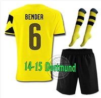14-15 Top thailand Borussia Dortmund Home #6 BENDER Soccer jersey with short and the match sock,2015 new jersey set