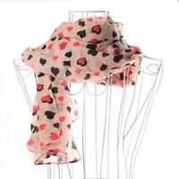 Free Shipping 158x46cm Women's Long Chiffon Scarf Wraps Shawl Stole Soft Scarves Womens Love Heart Scarf