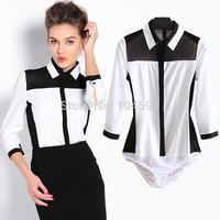 Fashion Black Chiffon Patchwork OL Three Quarter office lady Occupation body shirt blouse wholesale cheap bodysuits shirt vciv20