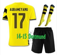 14-15 Top thailand Borussia Dortmund Home #17 AUBAMEYANG Soccer jersey with short and the match sock,2015 new jersey set