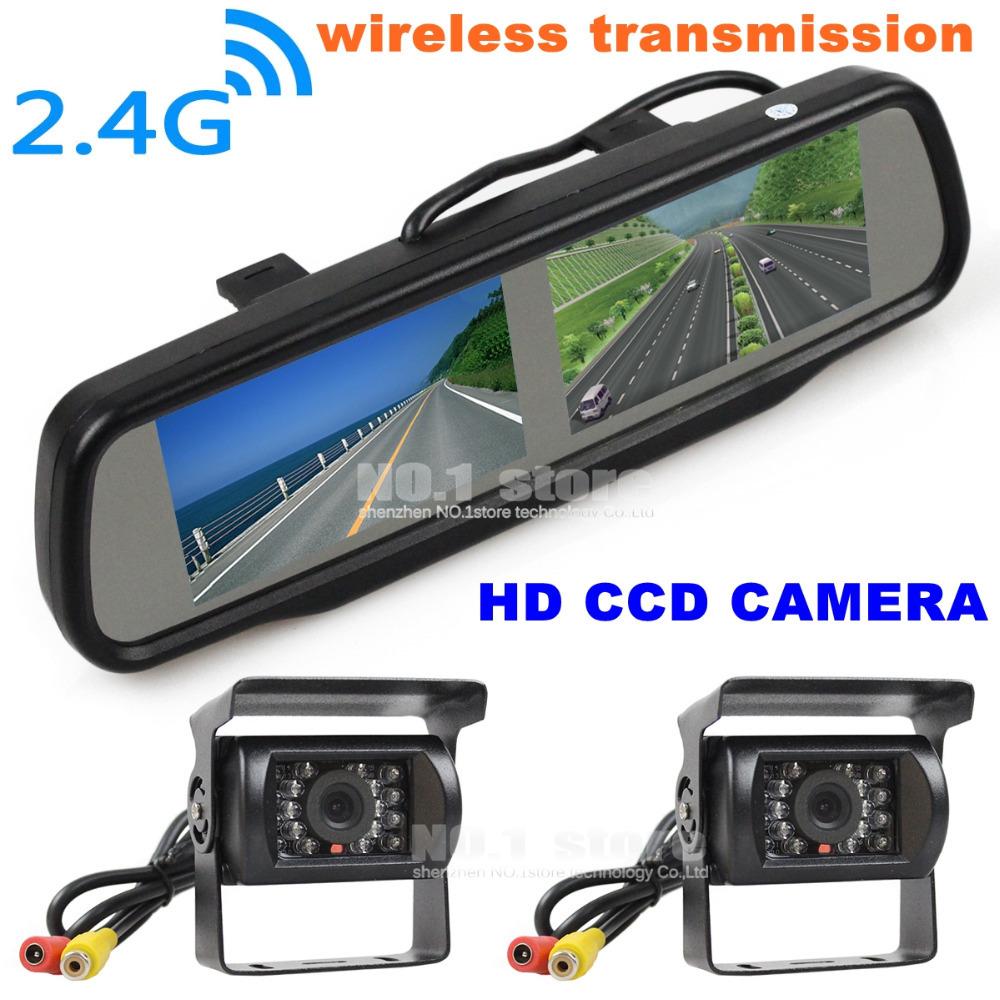 Wireless Dual Screen 4.3 inch TFT LCD Rear View Car Mirror Monitor + HD IR CCD Car Rear View Camera Reverse Backup Car Truck Bus(China (Mainland))