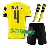 14-15 Top thailand Borussia Dortmund Home #4 SUBOTIC Soccer jersey with short and the match sock,2015 new jersey set