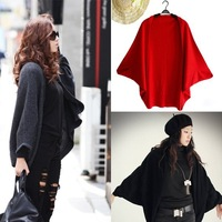 3 Colors Women's Knitting Sweaters Knitted Cardigan Fashion Long Cardigans Batwing Sleeve Coat Leasure Wraps Red/Black/Gray