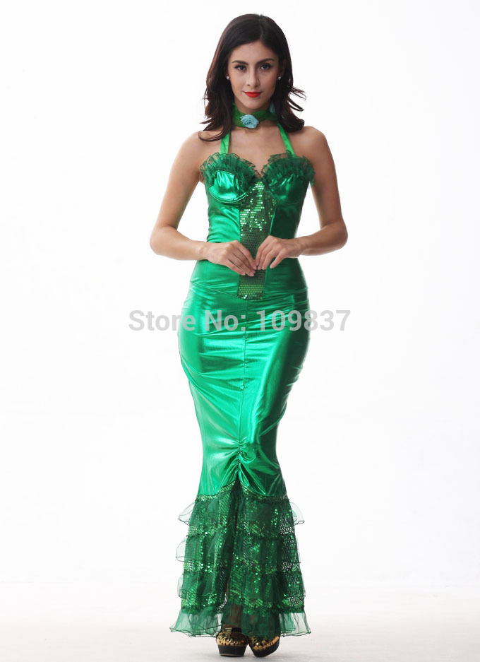 New Halloween Women Green Mermaid Costumes Cosplay Party Apparel D1312(China (Mainland))