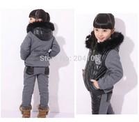 2014 Ski Suit Set Girl Winter Sports Child Thickening Clothes Jacket Set