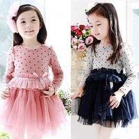 Top On Top 5pcs/lot 2013 spring new design childrens girls fashion polka dots dress long sleeve princess dress