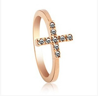 ladies cross Ring for women with Austria Crystal ,18k gold plated finger rings ,2014  Daily wear CZ diamond jewelry