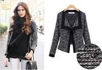 2014 New Fashion Winter Women Slim Blazer Coat Casual Jackets Long Sleeve  Black Linen Suit OL Outerwear A22
