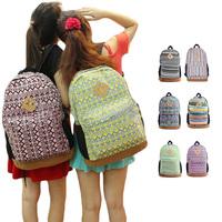 Womens Floral Canvas Satchel Backpack Shoulder School Bag Bookbag Rucksack S5Q