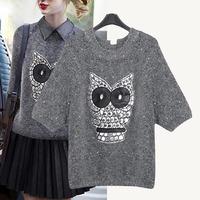 blusas de inverno feminina pullover drop shipping 2014 Autumn Winter new Punk Rivet Cat Head Sweter Tops for women sweaters