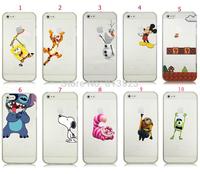 For iPhone 4 4s 5 5g 5s 5c Cute Minion Frozen Olaf SpongeBob Mario Mickey Spiderman Tiger Transparent Hard Plastic Case