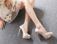 Sexy woman high-heeled shoes Rhinestone super high heels Princess thin heel round waterproof single shoes Wedding Party Shoes