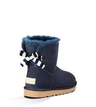 Int'l brand 2014 new Navy woman Mini Bow Stripe Suede boots,sheepskin wool inside leather snow boots winter boot security label(China (Mainland))