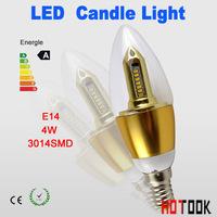 Hot wholesale 100pcs/lot LED candle light 3014SMD bulb lamp High brightness bulbs 4W AC85-265V Cold white/warm white golden