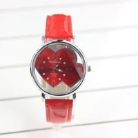 Promotion Fashion Leather Strap Women Quartz Watches Skeleton Double Love Heart Watch Children Watch