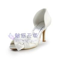 MZ425 wholsale free shipping 2014 fashion white wedding shoes high-heeled satin bow women bridal shoes