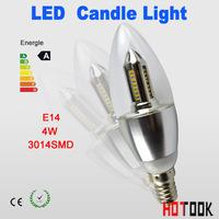 wholesale 100pcs/lot E14 led candle light bulb lamp 4W 3014SMD AC85-265V Warm White / Cool White Free shipping flat angle white