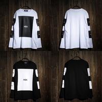 100% cotton big block design tee shirt hip hop t shirt stree fashion special tshirt Hood By Air HBA pyrex long sleeve t-shirt 3A