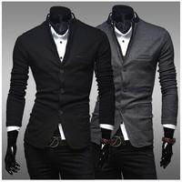 Blazers Masculinos Mens Sweaters Slim Fit Dark Gray  Blazer Man Suit For Men 2014 New Style Men Blazer Casual Jacket Brand
