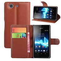 Side Flip Book Cover pu Leather Wallet Case For Sony Xperia Z3 mini / Z3 Compact, with id card holder, 50pcs/lot