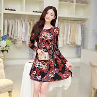 Flowers fancy fashion autumn new dress 2014 women's sanding cotton o-neck long-sleeve slim basic dress S M L XL one piece dress
