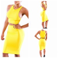 free shipping Two-piece condole belt net color of foreign trade The yellow dress sexy fashion foreign trade