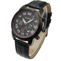 Brand New Original Curren Dual Time 6 Hands Automatic Auto Date Black Genuine Leather Band Men Quartz Sports Wrist Watch 8100