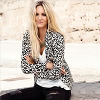 2014  New Women Leopard Blazer Jacket Brand Coat For Split Decoration In Back Plus Size XS-XXL Good Quality