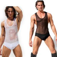 Male one piece underwear sexy tight underwear male tights ultra-thin transparent gauze viscose jumpsuit