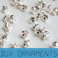 Silver Tone Bullet Clutch Earring Backs Barrel Earnuts silver plated brass for post earring backs
