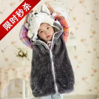 Frozen Coat Top Faux 2014 Autumn Winter New Kids Cartoon Simulation Vest Child Casual Soft Warm Plush Pillowtop Cute Chaleco